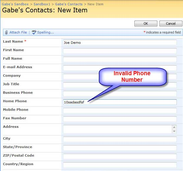 Invalid format for phone-number in SP Contact Form