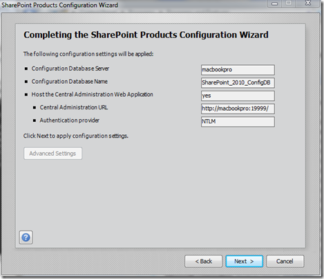 SharePoint Configuration Wizard -Completing