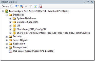 SQL Server after successful New-SPConfigurationDatabase