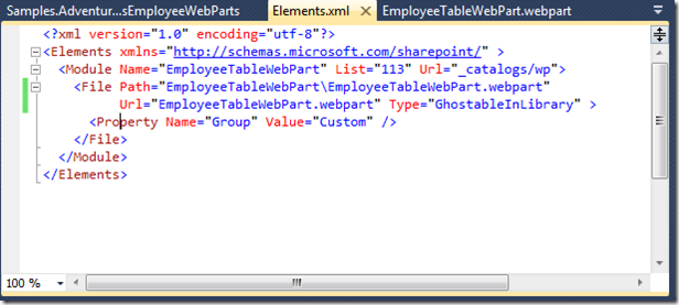 Web-Part Group Place-Holder in Elements.xml File