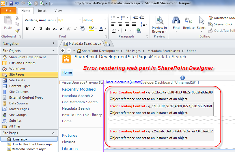 Error Creating Control in SharePoint Designer